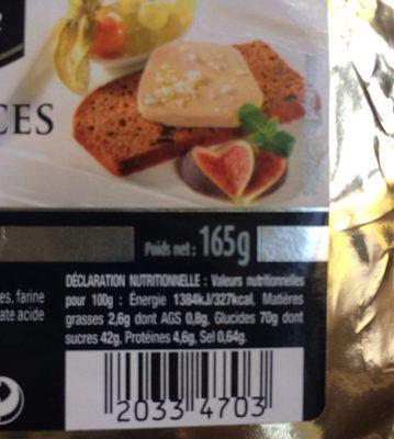 Pain d'épices aux figues et aux raisins - Informations nutritionnelles - fr