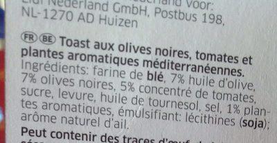 Mediterrane Toast, Toast mit mediterranen Kräutern - Ingrédients - fr