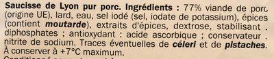 Saucisse de Lyon EN TRANCHES - Ingredients