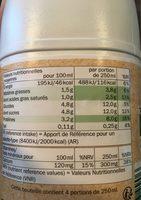 Lait demi-écrémé bio - Nutrition facts