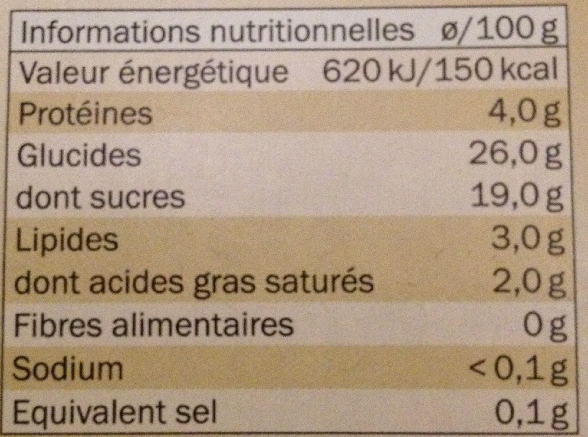 Gâteau de riz sur lit de caramel - Nutrition facts - fr