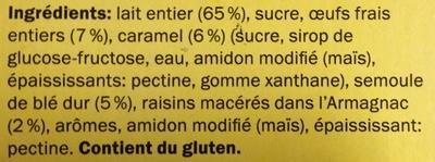 Gâteau de semoule aux raisins sur lit de caramel - Ingredients - fr
