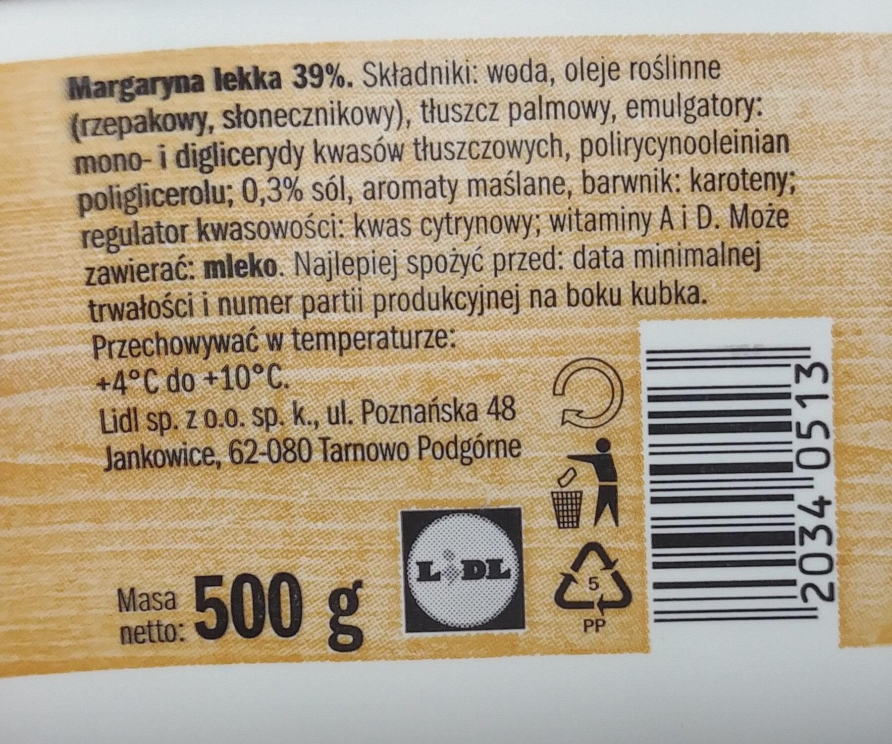 Margaryna lekka 39 %. - Ingredients - pl