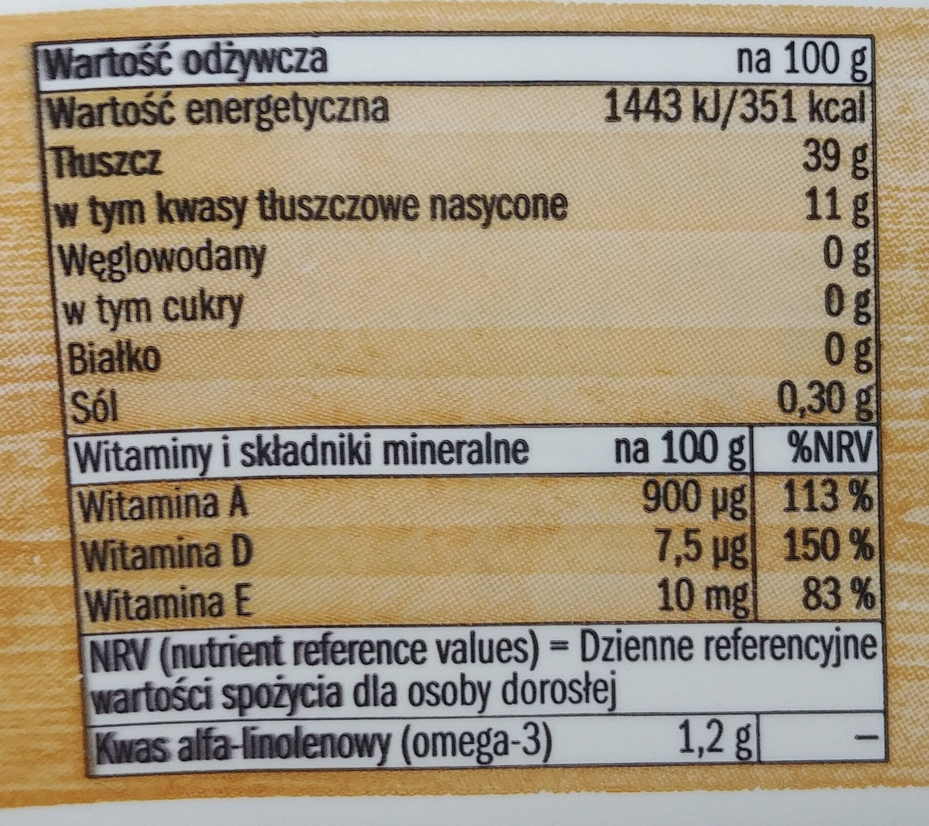 Margaryna lekka 39 %. - Nutrition facts - pl