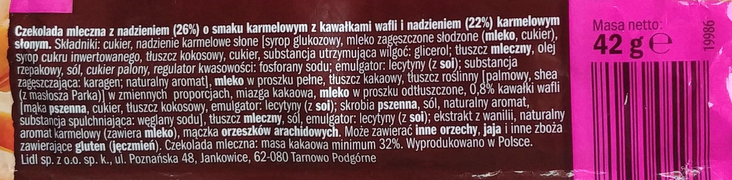 Czekolada mleczna z nadzieniem (26%) o smaku karmelowym z kawałkami wafli i nadzieniem (22%) karmelowym słonym - Składniki - pl