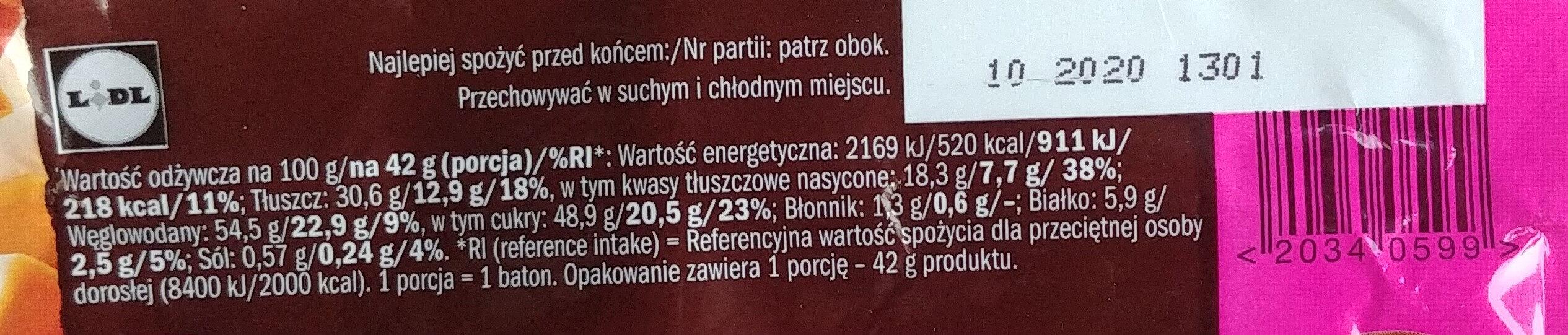 Czekolada mleczna z nadzieniem (26%) o smaku karmelowym z kawałkami wafli i nadzieniem (22%) karmelowym słonym - Wartości odżywcze - pl
