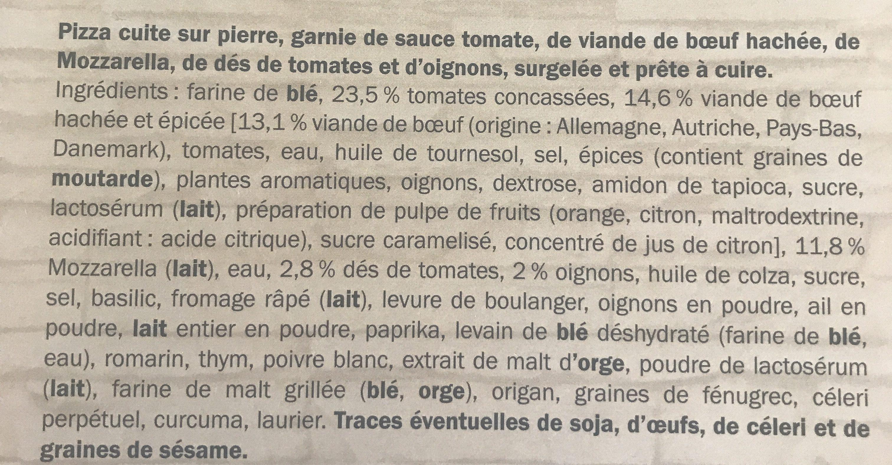 Pizza bolognaise - Ingredients