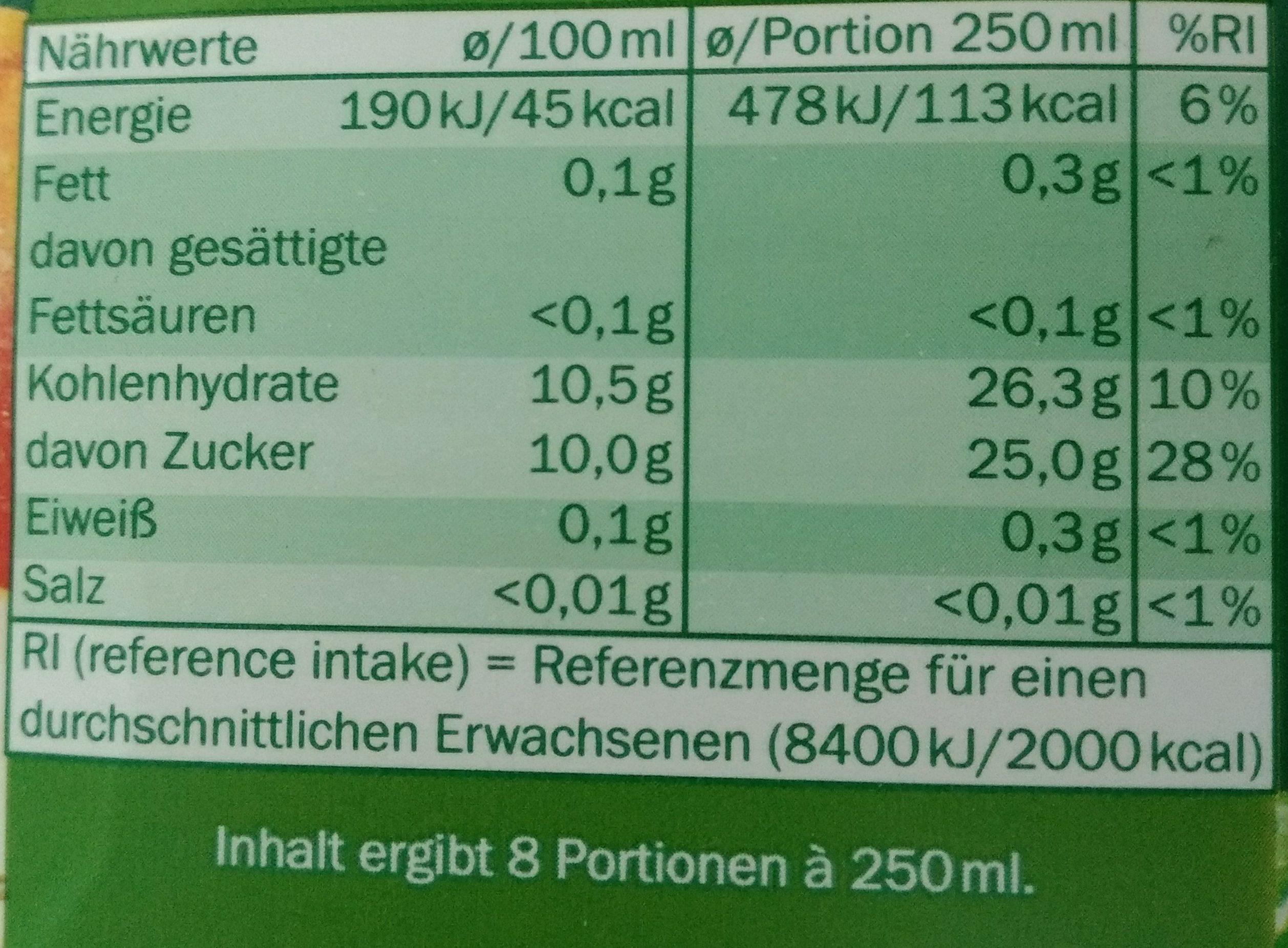Apple Juice from Concentrate - Nährwertangaben - de