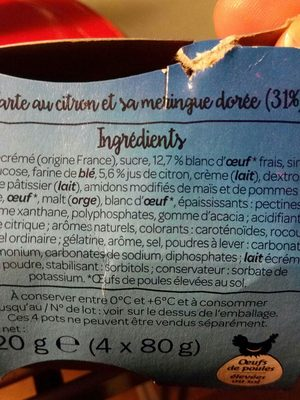Tarte au citron meringuée - Ingredients - fr