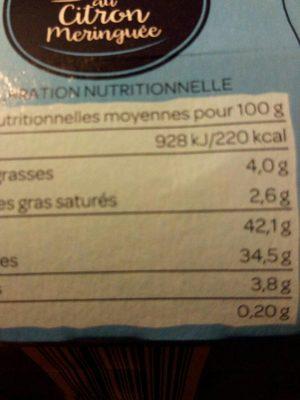 Tarte au citron meringuée - Nutrition facts - fr