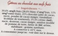 Moelleux au chocolat - Ingrédients - fr