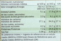 Deliziosa Vegetariana - Informació nutricional