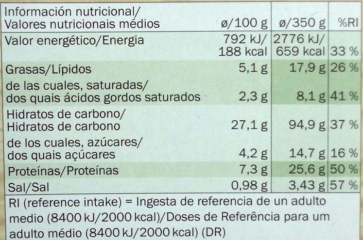 Deliziosa Vegetariana - Informação nutricional - pt