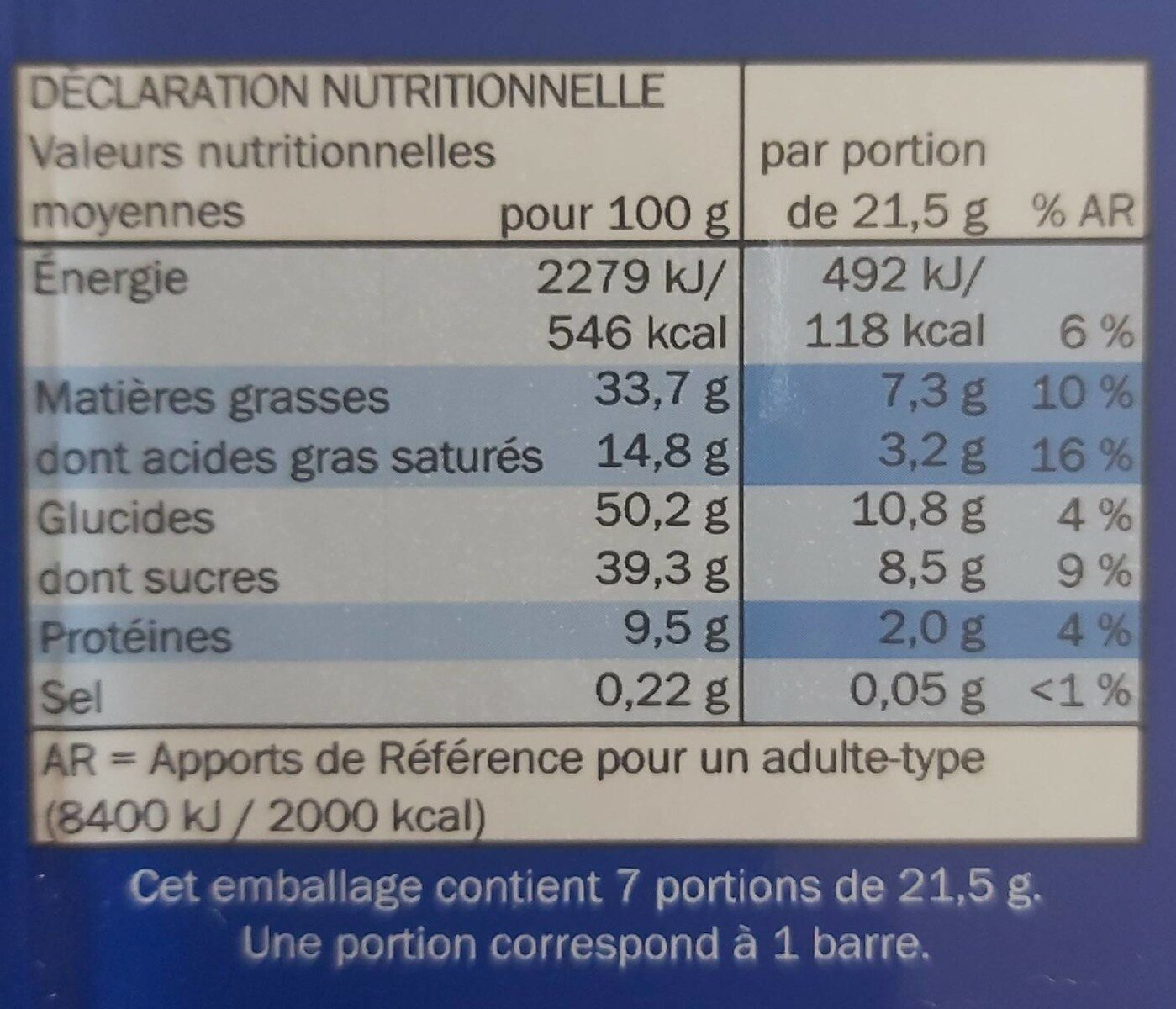 Bellona Noisettes Barres Chocolatées - Nutrition facts - de