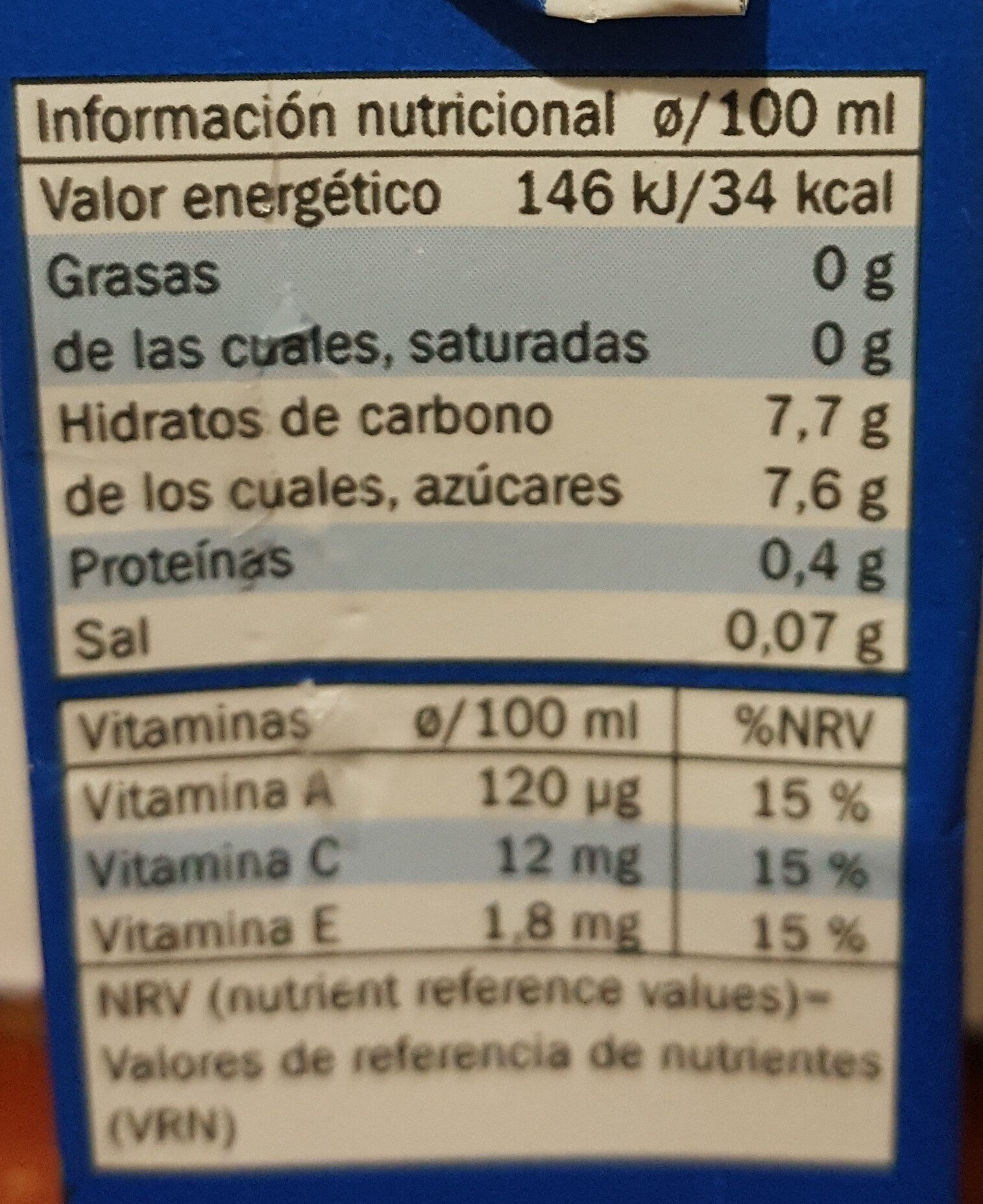 Mediterráneo Zero - Nutrition facts