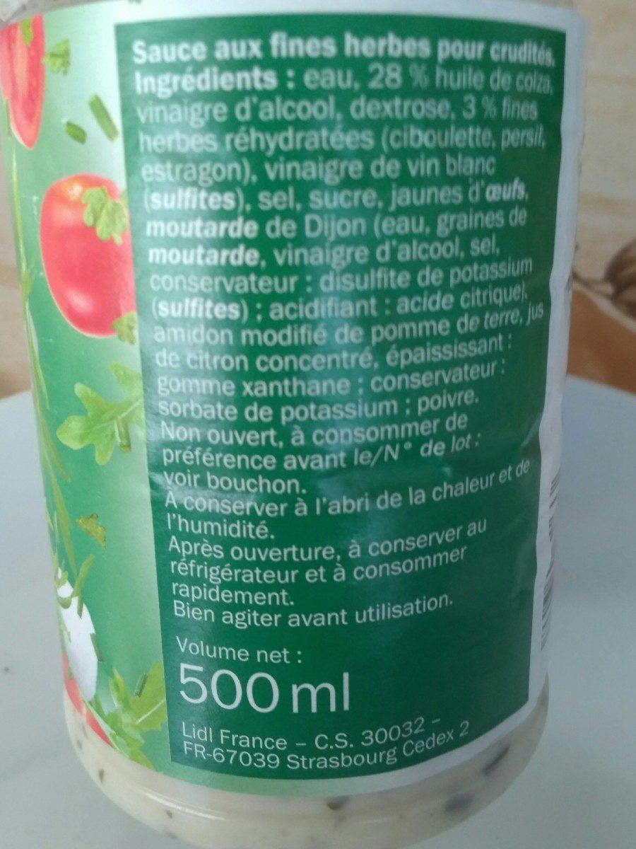 Sauce crudités - Ingrédients - fr