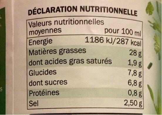 Sauce crudités - Informations nutritionnelles - fr