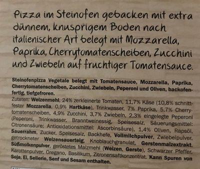 Pizza vegetarisch - Ingrédients
