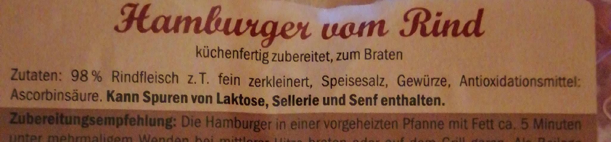 Hamburger vom Rind - Inhaltsstoffe