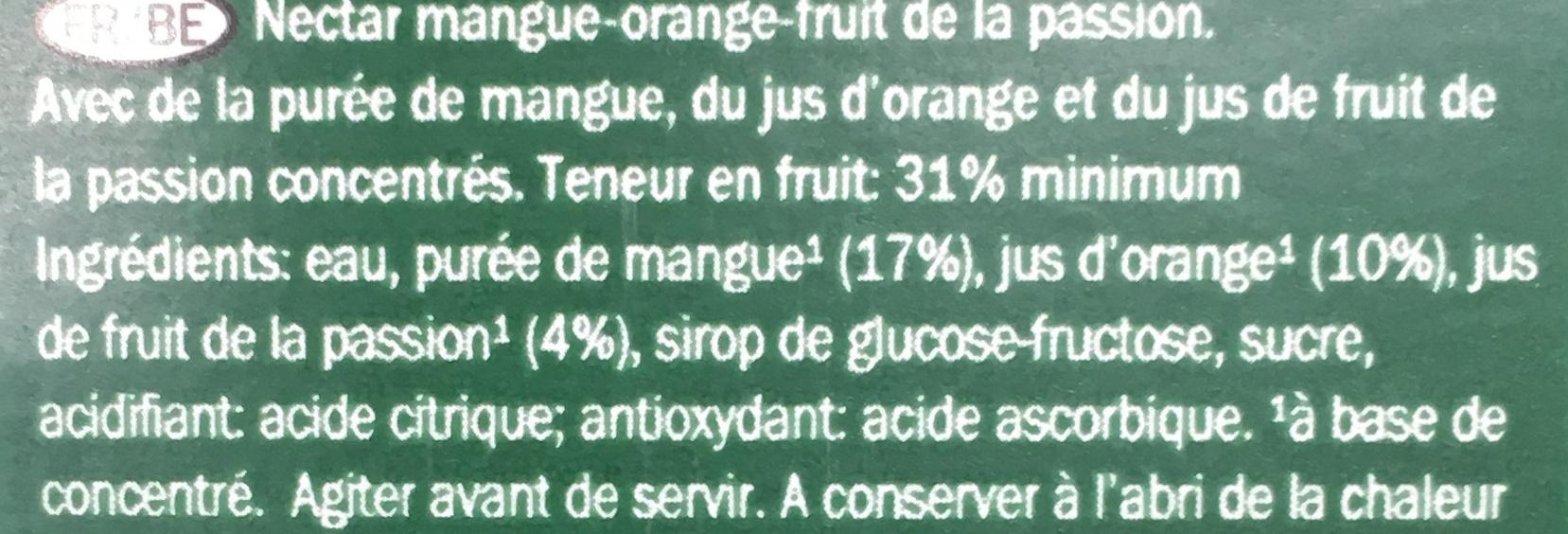 Nectar Mango- Passion Fruit - Ingredients