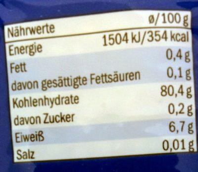Milchreis - Voedingswaarden - de