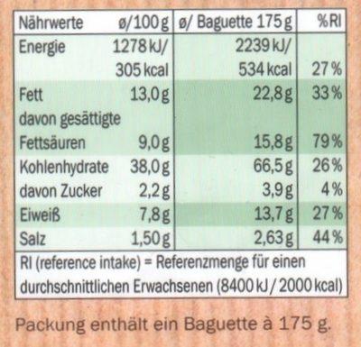 Kräuterbaguette - Nährwertangaben