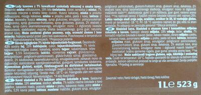 Premium COFFEE dairy ice cream - Ingredientes - sl