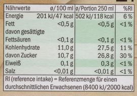 Apfel-Johannisbeersaft - Informations nutritionnelles - de