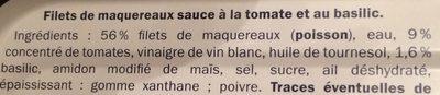Filets de Maquereaux (À la Tomate & au Basilic) - Ingrédients - fr