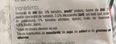 Tortellini Tomate & Mozzarella - Ingrédients - fr