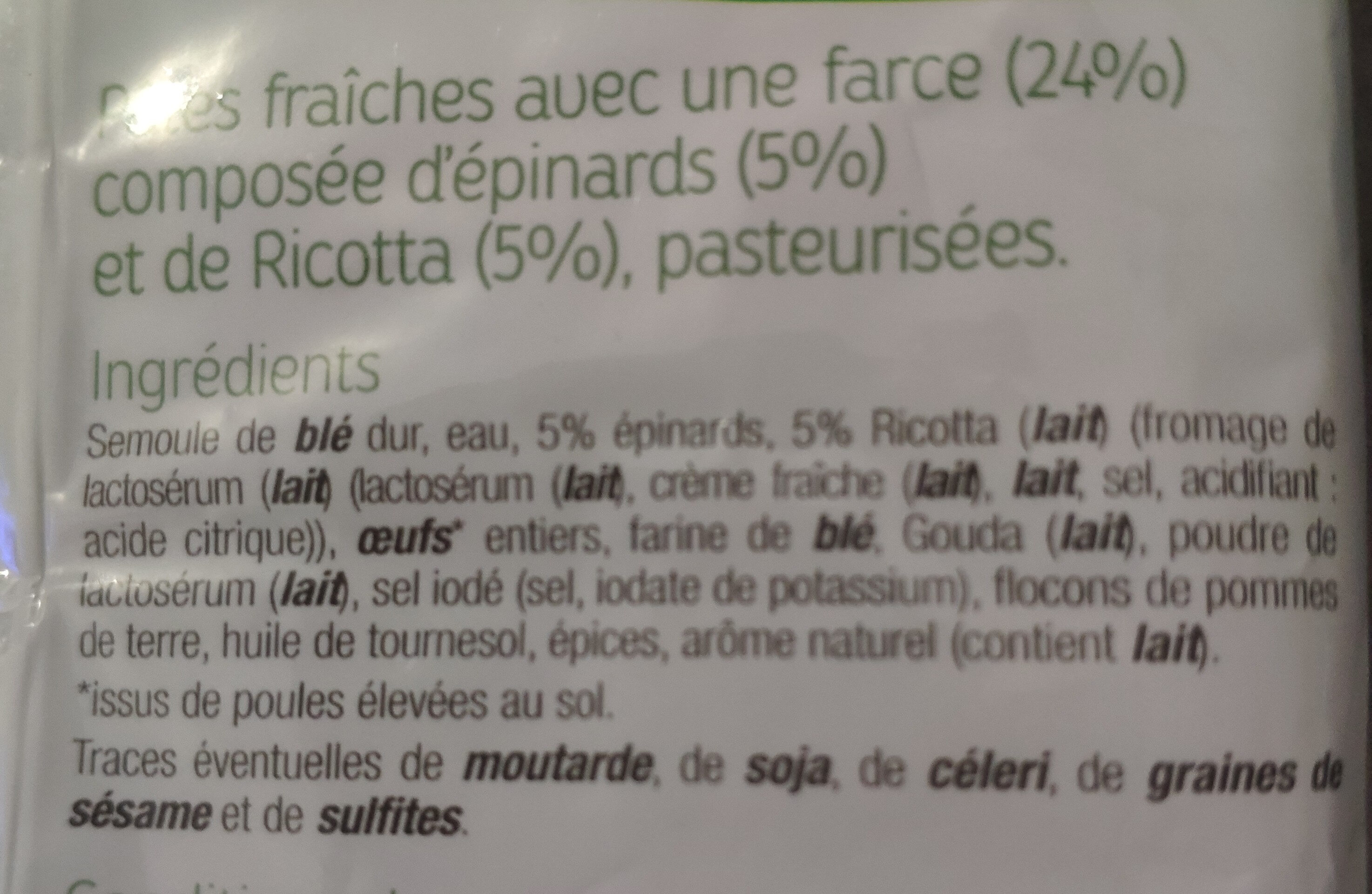 Tortellini  Épinards & Ricotta - Ingrédients - fr