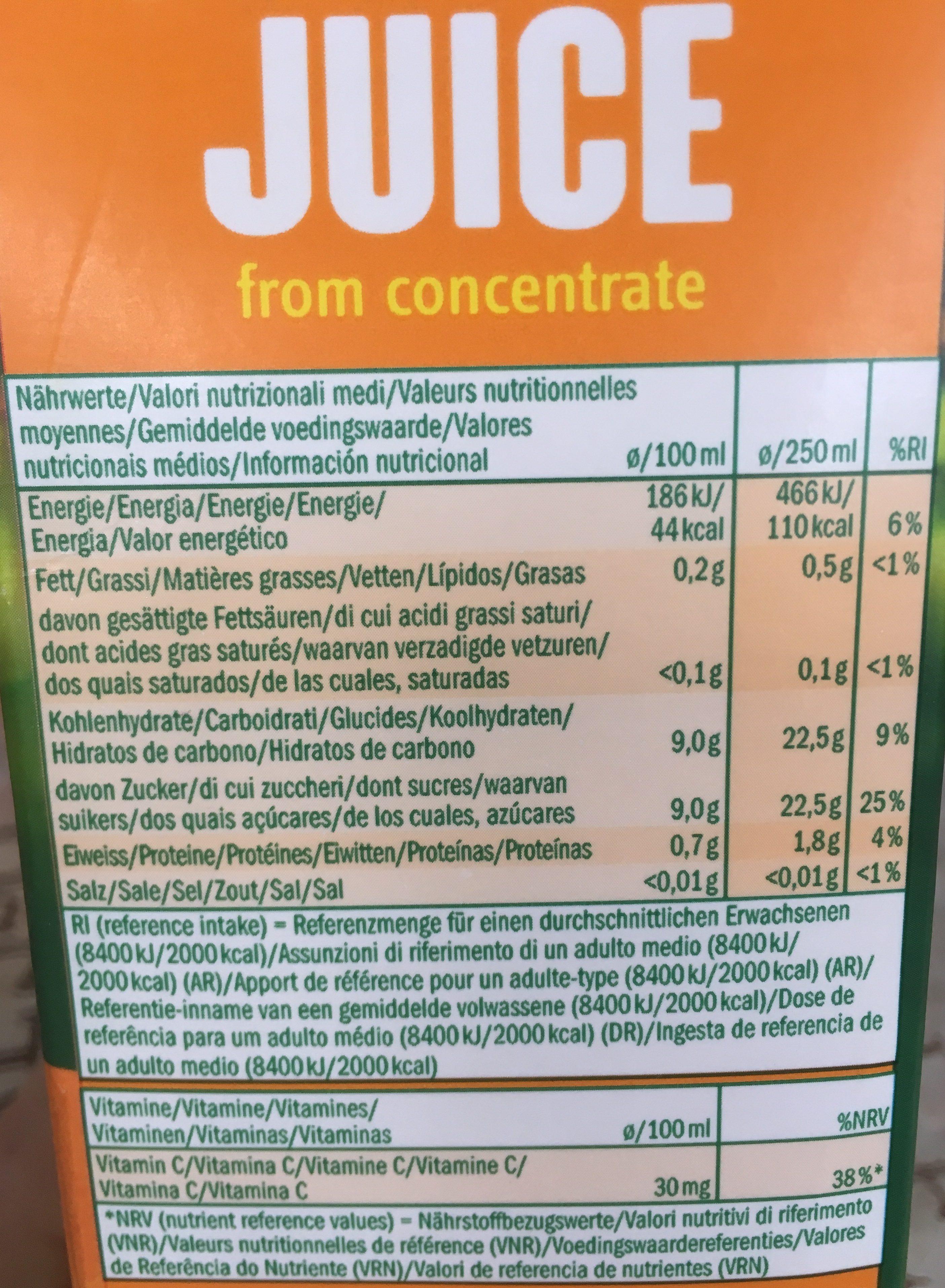 Jus d'orange à base de jus d'orange concentré - Ingrediënten