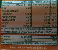 Jus d'orange à base de jus d'orange concentré - Nährwertangaben