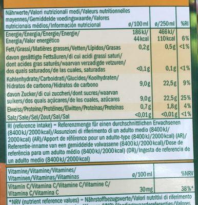 Jus d'orange à base de jus d'orange concentré - Voedingswaarden
