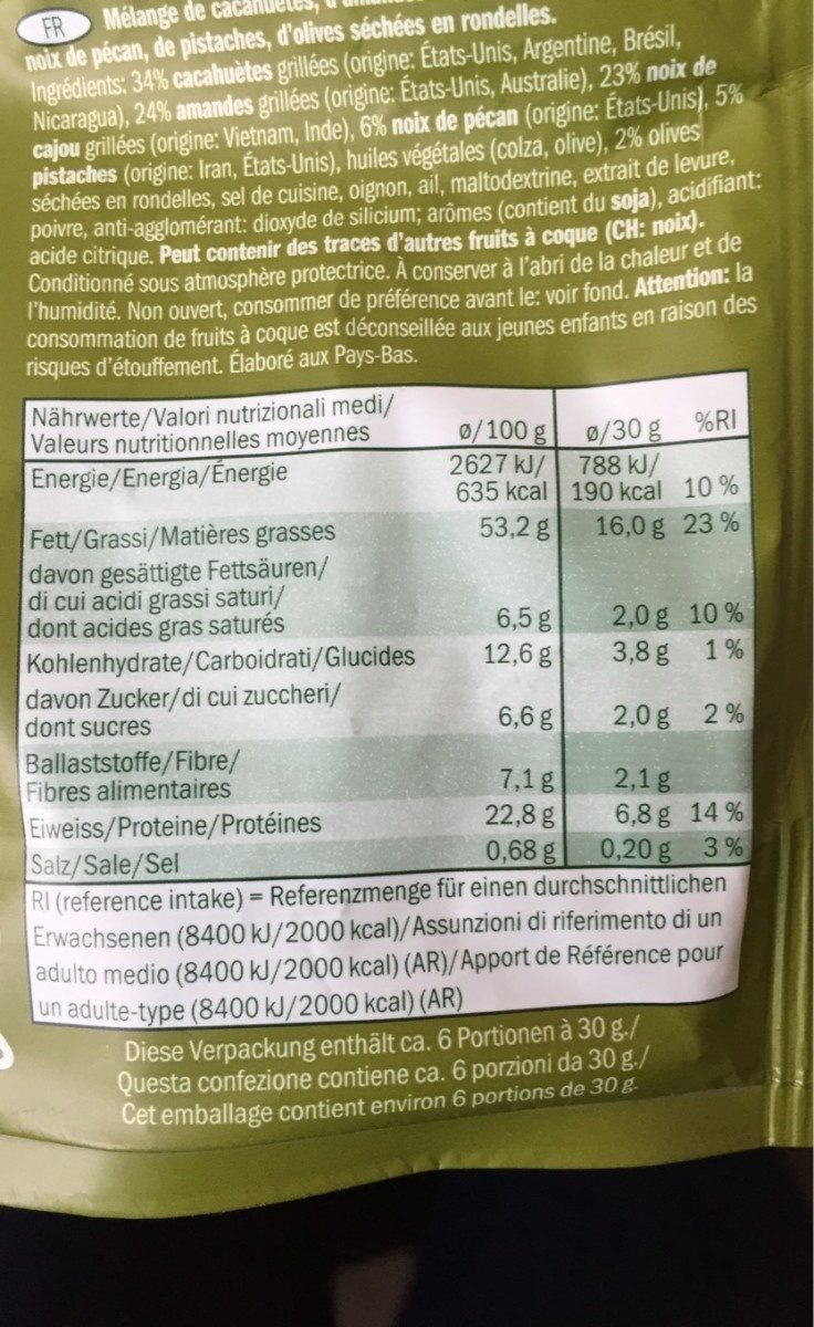 Snack Mix con aceitunas condimentados - Nutrition facts