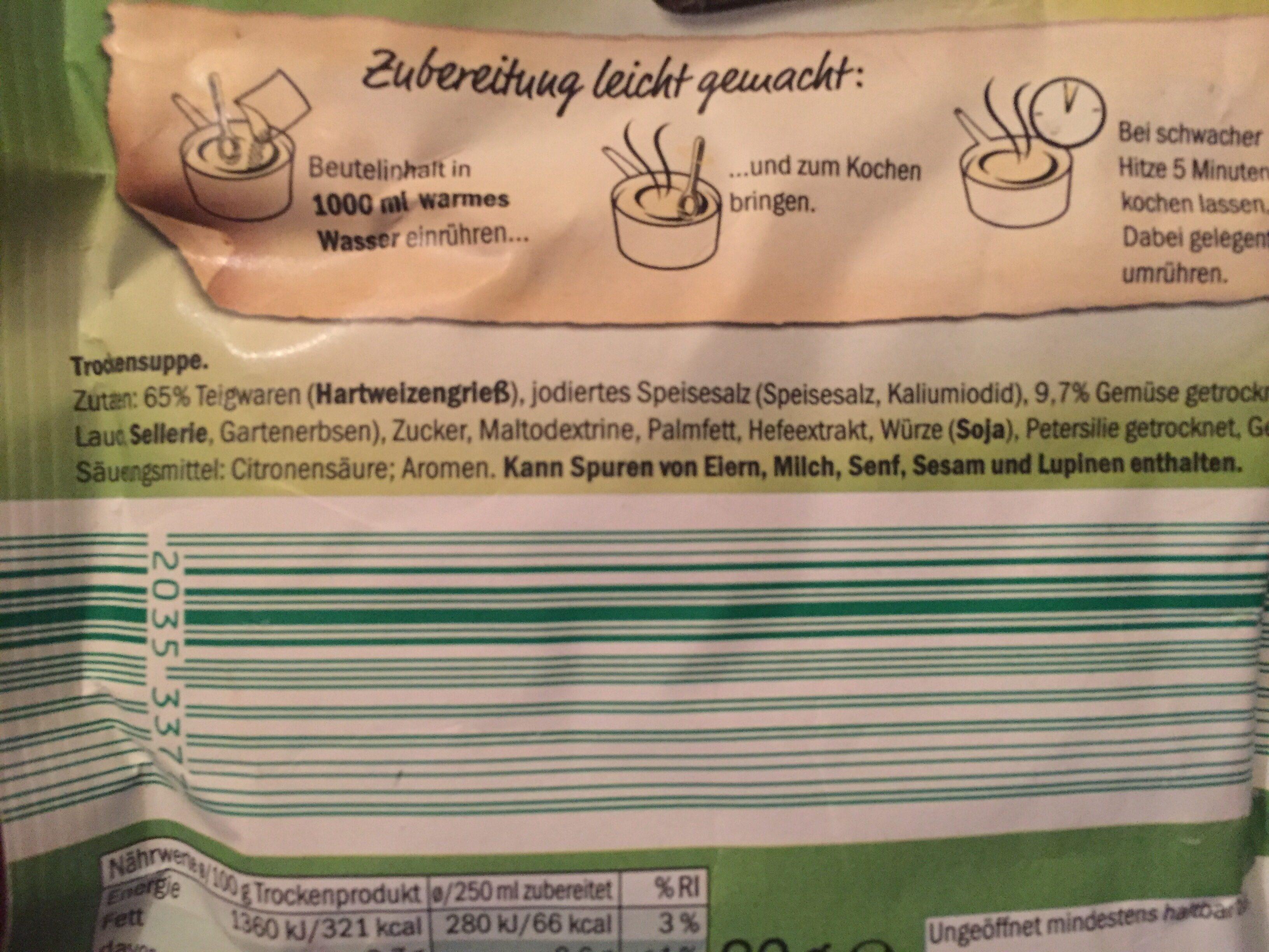 Frühlingssuppe mit Nudeln und Gemüse - Ingrédients