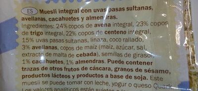 Vollkornmüsli - Ingredientes - es