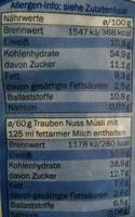 Muesli Integral crownfield - Frutos Secos - Informació nutricional