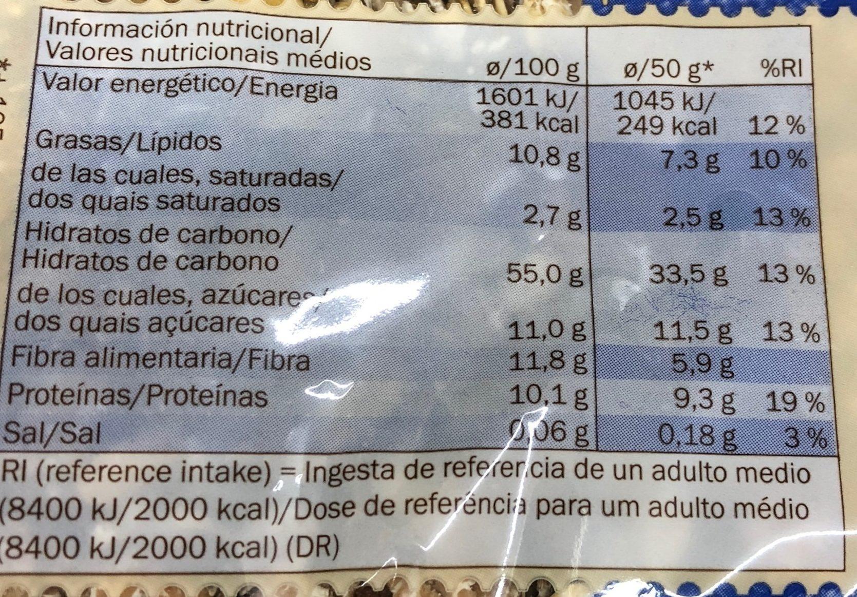 Vollkornmüsli - Información nutricional - es