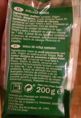 Avellana tostada sin sal - Ingredients - fr