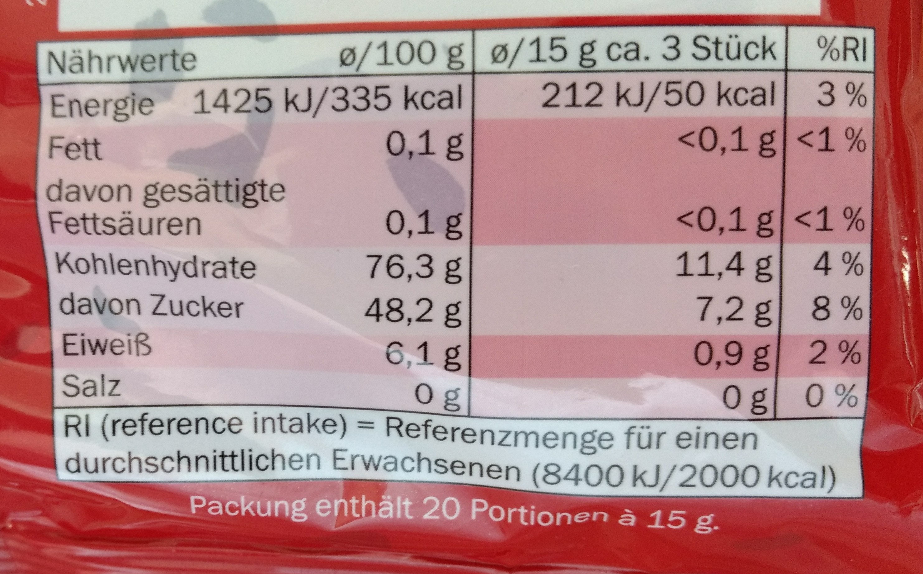 Sugarland Freche Trauben Weingummi 300g, Traubenw... - Nutrition facts