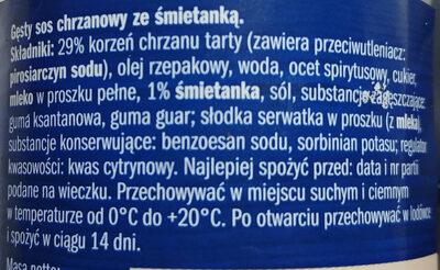 Gęsty sos chrzanowy ze śmietanką - Ingrédients