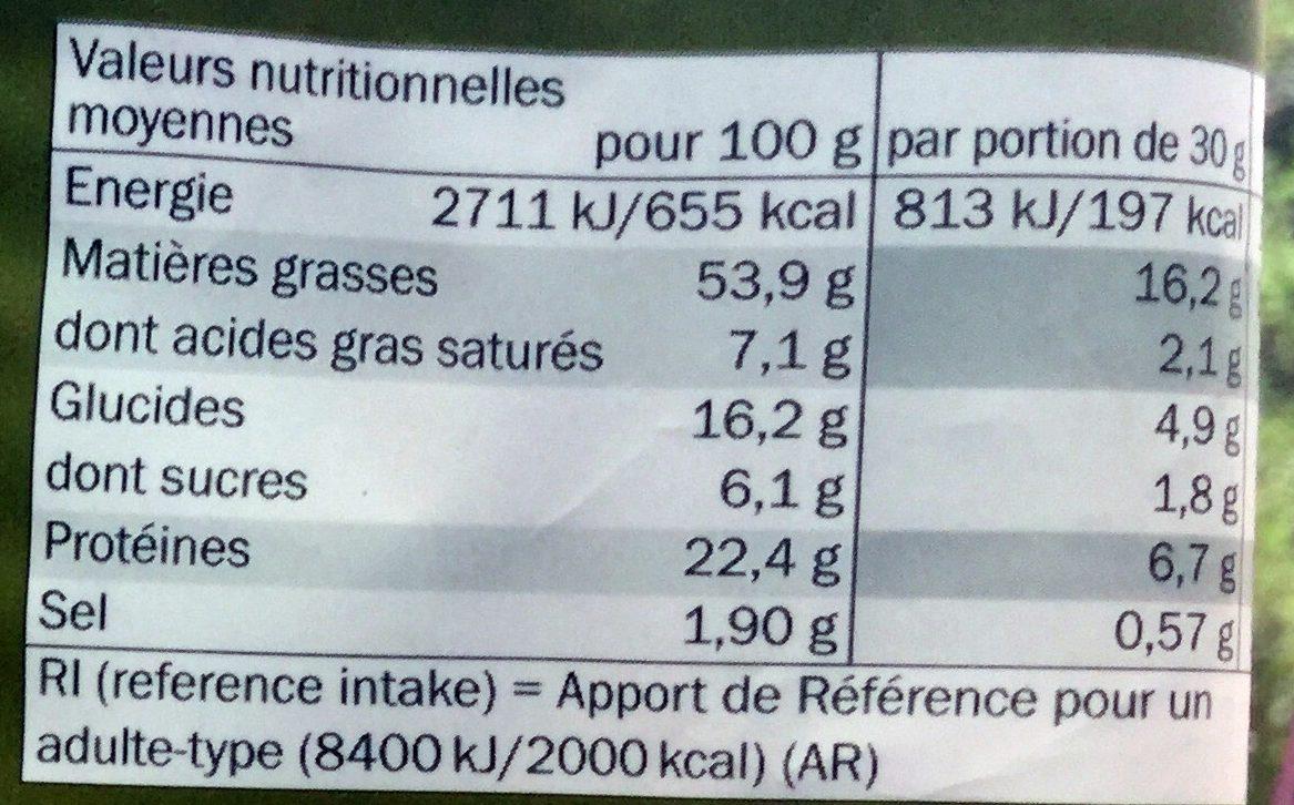 Pistaches de Californie grillées et salées - Informations nutritionnelles - fr