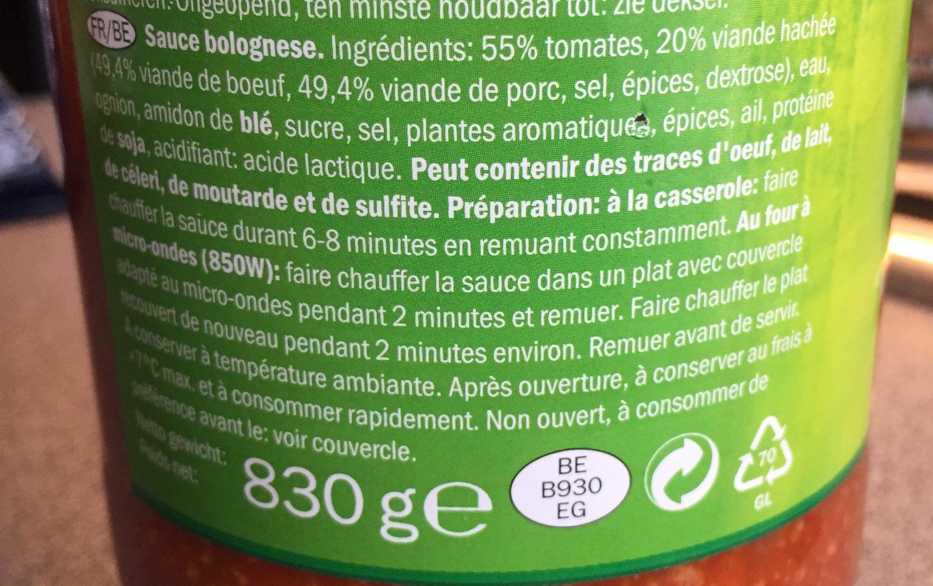 Bolognaise (avec viande haché) - Ingrediënten - fr