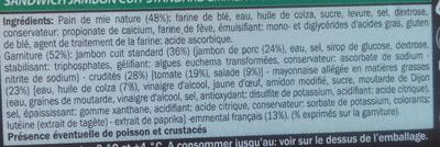 Pain de mie nature jambon emmental crudités - Ingrediënten