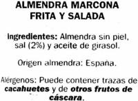 Almendras fritas Variedad Marcona - Ingrédients - es