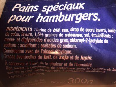 Pains spéciaux pour hamburgers - Ingrédients - fr