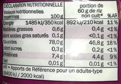 Basmatireis - Informations nutritionnelles - fr