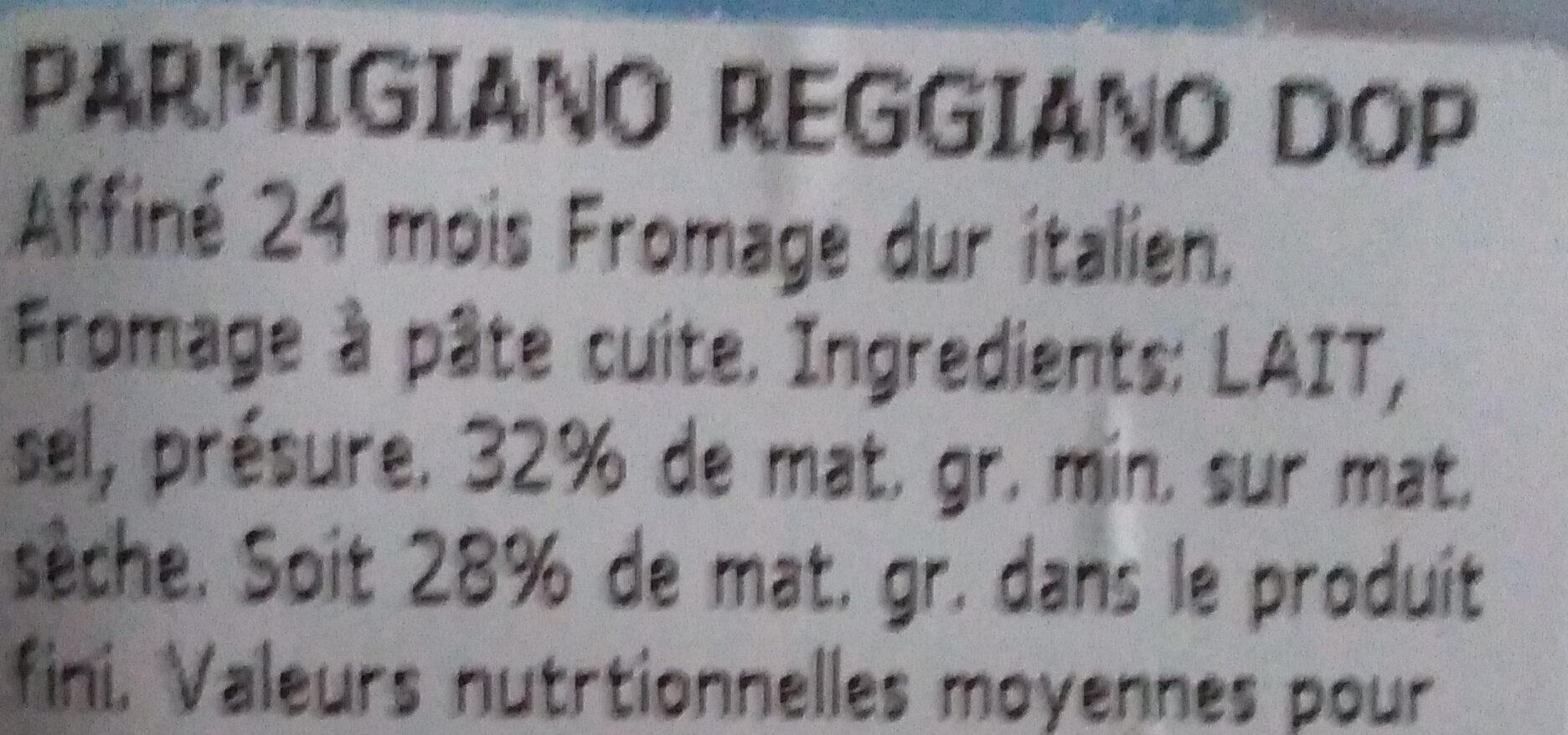 Parmigiano Reggiano 24 M - Ingrédients - fr