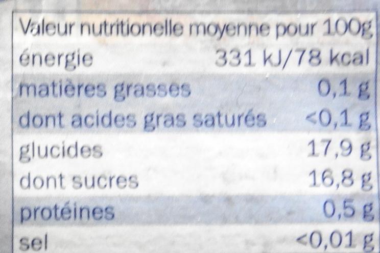 Cerises bigarreaux, dénoyautées en sirop - Informations nutritionnelles - fr